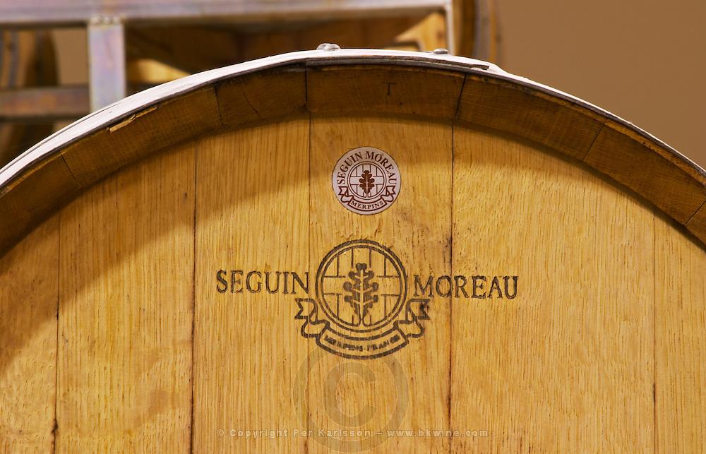 Oak barrel from Seguin Moreau Merpins France Bodega Del Anelo Winery, also called Finca Roja, Anelo Region, Neuquen, Patagonia, Argentina, South America