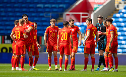 CARDIFF, WALES - Sunday, September 6, 2020: Wales players before the UEFA Nations League Group Stage League B Group 4 match between Wales and Bulgaria at the Cardiff City Stadium. (Pic by David Rawcliffe/Propaganda)
