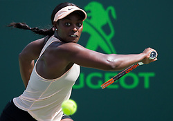 March 29, 2018 - Key Biscayne, Florida, United States - Sloan Stephens, from the USA, in action against Victoria Azarenka, from Belarus, during her semifinal final match at the Miami Open. Stephens defeated Azarenka 3-6, 6-2, 6-1  in Miami, on March 29, 2018. (Credit Image: © Manuel Mazzanti/NurPhoto via ZUMA Press)