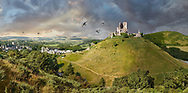 Towering Delusions -  Panorama of Medieval Corfe castle keep  close up  sunrise, built in 1086 by William the Conqueror on a man made hill, Dorset England. By Paul Williams