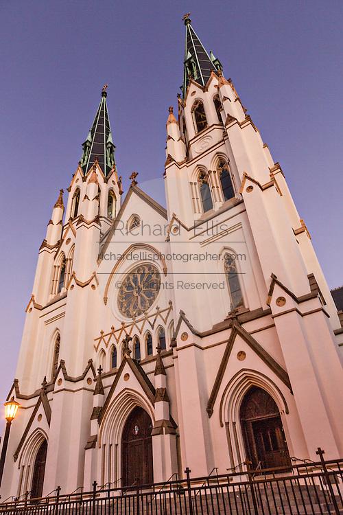 The Cathedral of St. John the Baptist at twilight in historic Savannah, GA.