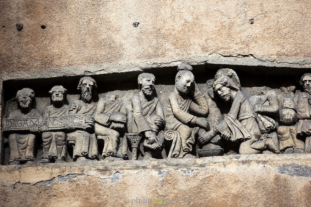 A Roman bas relief of Jesus washing the deciples feet at Place des Gras, France
