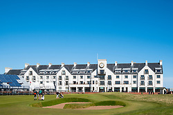 View of Carnoustie Golf Course Hotel behind 18th Green  at Carnoustie Golf Links in Carnoustie, Angus, Scotland, UK. Carnoustie is venue for the 147th Open Championship in 2018. Stand around green under construction.