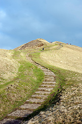 Foot path leading up Mam Tor also known as Mother Hill or shivering Mountain near Castleton in the High Peak of Derbyshire, England..www.pauldaviddrabble.co.uk.15 January 2012.Image © Paul David Drabble