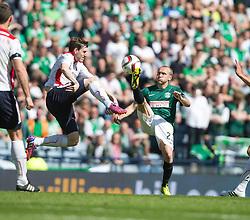 Falkirk's Blair Alston and Hibernian's Dylan McGeouch. <br /> half time : Hibernian 0 v 0  Falkirk, William Hill Scottish Cup semi-final, played 18/4/2015 at Hamden Park, Glasgow.