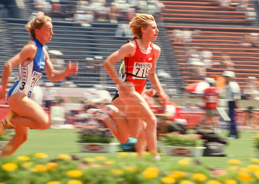 TOKYO - AUGUST 1991:  Irina Privalova #716 of Russia competes in the Women's 100 meter event of the 1991 IAAF World Championships held in August 1991 in the Olympic Stadium in Tokyo, Japan.   (Photo by David Madison/Getty Images)