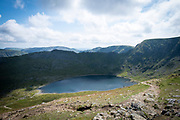 Red Tarn lake high up on the eastern flank of Helvellyn Mountain, English Lake District, Cumbria, United Kingdom on the 2nd of August 2021. Red Tarn is a glacial lake formed with the glacier that carved our the eastern side of the mountain melted. It is the habitat of the rare and endangered Schelly fish.(photo by Andrew Aitchison / In pictures via Getty Images)