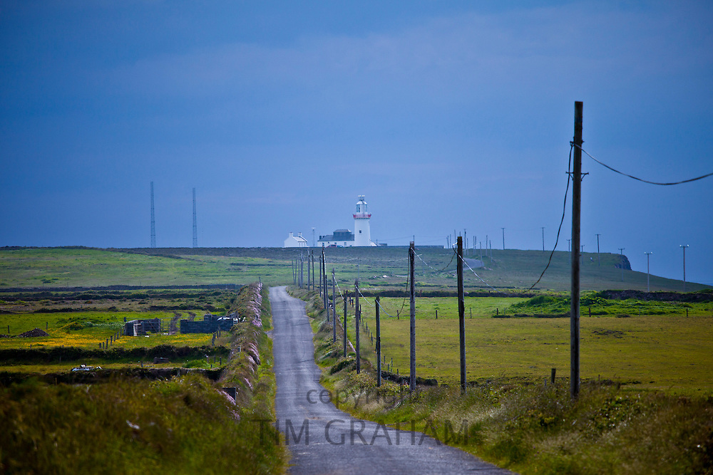 Open road to Loop Head lighthouse at the end of the Loop peninsula, County Clare, West of Ireland