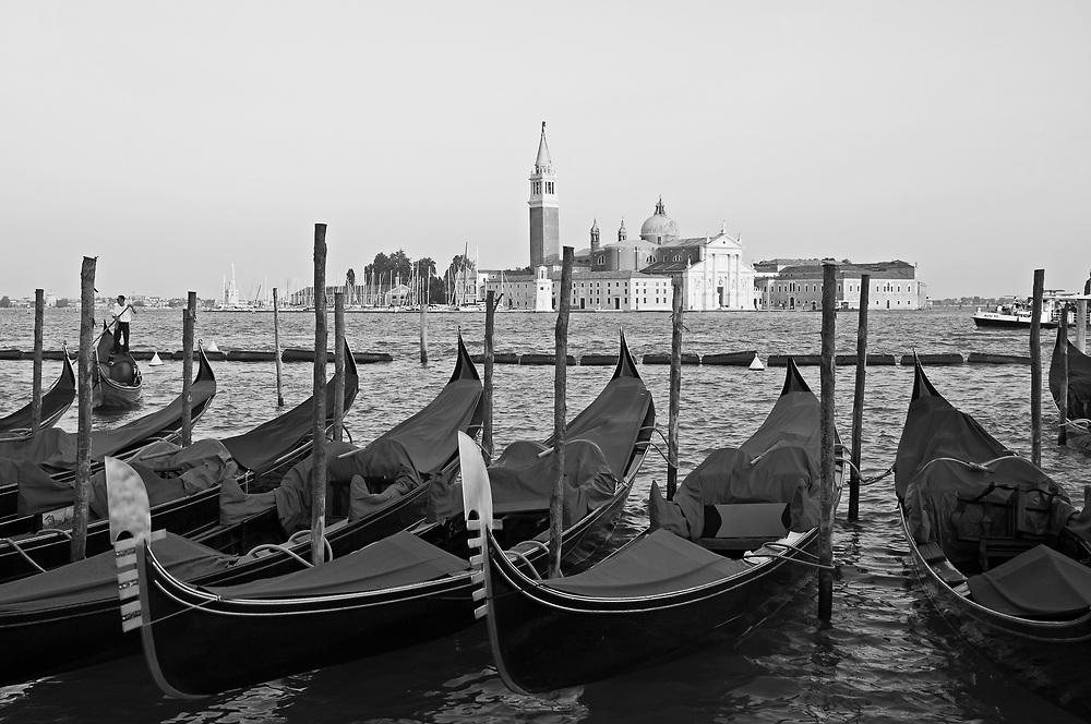 Gondolas infront of the San Giorgio Maggiore.