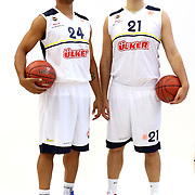 Fenerbahce Ulker's Oguz Savas (R) with Mike Batiste during their Euroleague Media Day at Fenerbahce Ulker Sports Arena in Istanbul, Turkey, Wednesday, September 26, 2012. Photo by TURKPIX