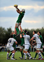 Blair Cowan (London Irish) wins lineout ball - Photo mandatory by-line: Patrick Khachfe/JMP - Mobile: 07966 386802 22/08/2014 - SPORT - RUGBY UNION - Middlesex - Hazelwood - London Irish v Bristol Rugby - Pre-Season Friendly