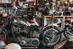 Cycle Zombies' Turk Stopnik workong in Scotty's garage. Huntington Beach, CA. USA. June 29, 2015.  Photography ©2015 Michael Lichter.
