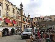 Street market in Plaza Mayor, Plasencia, Caceres province, Extremadura, Spain