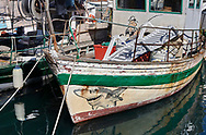 BY THE SEA - PIRAN - colour photo art pictures by Paul Williams of a fishing boat with popeye illustrations. Taken in 2007