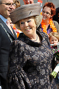 Koninginnedag 2011 in het  Limburgse plaatsjeThorn (witte dorp) // Queen's Day 2011 in the southern of Holland ( Limburg). The Royal family is visiting the small white village Thorn.<br /> <br /> Op de foto / On the photo:  Koningin Beatrix / Queen Beatrix