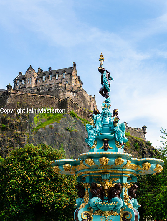 View of ornate newly restored Ross Fountain in Princes Street gardens , Edinburgh, Scotland, UK