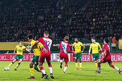Perr Schuurs of Fortuna Sittard takes a free kick during the Jupiler League match between Fortuna Sittard and jong FC Utrecht at the Fortuna Sittard Stadium on December 23, 2017 in Sittard, The Netherlands
