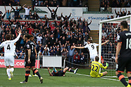 Fernando Llorente of Swansea city (9) celebrates after he scores his teams 1st goal. Premier league match, Swansea city v Everton at the Liberty Stadium in Swansea, South Wales on Saturday 6th May 2017.<br /> pic by  Andrew Orchard,