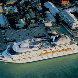 Aerial Photograph of a cruise ship docked at Mallory Square in Key West at sunset