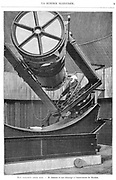 Jules Pierre Cesar  Janssen (1824-1907) French astronomer at the eyepiece of his reflecting telescope at Meudon observatory France. An accident at a young age left him unable to walk or attend school. He worked as a bank clerk and eventually entered the Sorbonne, graduating in 1852. From 'La Science Illustree'. (Paris, 1893). Engraving.
