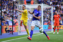 May 12, 2019 - Leicester, England, United Kingdom - Davide Zappacosta (21) of Chelsea battles with Leicester City defender Jonny Evans (6) during the Premier League match between Leicester City and Chelsea at the King Power Stadium, Leicester on Sunday 12th May 2019. (Credit Image: © Mi News/NurPhoto via ZUMA Press)