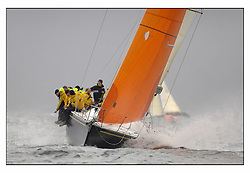 The second days racing at the Bell Lawrie Yachting Series in Tarbert Loch Fyne ...Strong winds, high seas and heavy rain dominated the day..GBR745R  Farr 45 Wolf,  Glynn Williams at the helm.