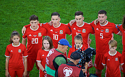 CARDIFF, WALES - Friday, September 6, 2019: Wales players line-up before the UEFA Euro 2020 Qualifying Group E match between Wales and Azerbaijan at the Cardiff City Stadium. L-R: Daniel James, Harry Wilson, Tom Lawrence, Chris Mepham. (Pic by Paul Greenwood/Propaganda)