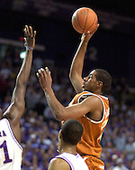 Texas forward Lamarcus Aldridge (C) puts up a shot against Kansas State, during the first half at Bramlage Coliseum in Manhattan, Kansas, February 22, 2006.  The 7th ranked Longhorns held on for a 65-64 win over K-State.
