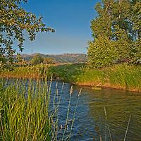 Hyalite Creek flows through Montana's Gallatin Valley, near Belgrade & Bozeman.  The Bridger Mountains rise in the background.