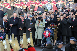 © Licensed to London News Pictures. 10/11/2019. London, UK. War veterans attend the Remembrance Sunday ceremony at the Cenotaph memorial in Whitehall, central London. Remembrance Sunday is held each year to commemorate the service men and women who fought in past military conflicts. Photo credit: Dinendra Haria/LNP