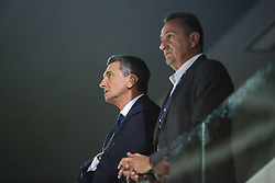 Borut Pahor, president of Slovenia and Metod Ropret, president of OZS during volleyball match between National teams of Slovenia and Poland in semifinal of 2019 CEV Volleyball Men's European Championship in Ljubljana, on September 26, 2019 in Arena Stozice. Ljubljana, Slovenia. Photo by Matic Klansek Velej / Sportida