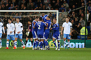Peter Whittingham (7) of Cardiff city celebrates with his teammates after he scores his teams 1st goal from a free-kick. EFL Skybet championship match, Cardiff city v Sheffield Wednesday at the Cardiff city stadium in Cardiff, South Wales on Wednesday 19th October 2016.<br /> pic by Andrew Orchard, Andrew Orchard sports photography.