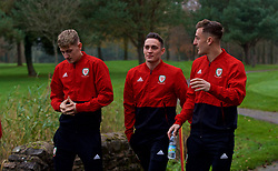 CARDIFF, WALES - Friday, November 16, 2018: Wales' David Brooks, Connor Roberts and Tom Lockyer during a pre-match walk at the Vale Resort ahead of the UEFA Nations League Group Stage League B Group 4 match between Wales and Denmark. (Pic by David Rawcliffe/Propaganda)