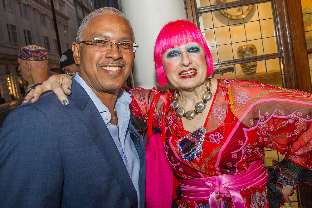Dame Zandra Rhodes attends the Private view for Drawing on Style: Four Decades of Elegance - an exhibition of original vintage fashion illustrations from Post War 1940s through to the 1970s organized by GRAY M.C.A, leading specialists in Fashion Illustration.  It includes more than 40 original works by some of the leading illustrators of the time from Britain, Europe and America including René Bouché, René Gruau and Carl Erickson for publications including Vogue as well as advertising work for L'Oreal and other famous names in Haute Couture.  There are also a selection of original designs by designers including Dior, Biba & Zandra Rhodes. Coinciding with London Fashion Week, the exhibition runs from Thursday 11th - Tuesday 16th September 2014 with prices from £300-£10,000. Gallery 8, St James's, London. 10 Sept 2014. Guy Bell, 07771 786236, guy@gbphotos.com