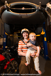 Lock and Brittney Olsen at the Pre-party for the Handbuilt Motorcycle Show at Revival Cycles. Austin, TX. April 9, 2015.  Photography ©2015 Michael Lichter.
