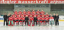 04.09.2012, Tiroler Wasserkraft Arena, Innsbruck, AUT, Mannschaftsfoto des HC TWK Innsbruck, Erste Reihe mit Marco Repitsch, (HC TWK Innsbruck, # 35), Florian Stern, (HC TWK Innsbruck, # 05), Stefan Pittl, (HC TWK Innsbruck, # 84), Patrick Moessmer, (HC TWK Innsbruck, # 10), Daniel Naud, (HC TWK Innsbruck, Head Coach), Thomas Tragust, (HC TWK Innsbruck, # 34), Jeff Job, (HC TWK Innsbruck, Co-Coach), Jonathan Insana, (HC TWK Innsbruck, # 77), Aaron Fox, (HC TWK Innsbruck, # 76), Alexander Hoeller, (HC TWK Innsbruck, # 11), Patrick Machreich, (HC TWK Innsbruck, # 33), Zweite Reihe mit Marco Foerster, (HC TWK Innsbruck, Konditionstrainer), Walter Sumerauer, (HC TWK Innsbruck, Zeugwart), Peter Kranz, (HC TWK Innsbruck, Zeugwart), Max Steinacher, (HC TWK Innsbruck, # 18), Florian Pedevilla, (HC TWK Innsbruck, # 24), Craig Switzer, (HC TWK Innsbruck, # 04), David Lindner, (HC TWK Innsbruck, # 07), Antonin Manavian, (HC TWK Innsbruck, # 13), Dominic Simperl, (HC TWK Innsbruck, # 28) , Valentin Schennach, (HC TWK Innsbruck, # 51), Andreas Hanschitz, (HC TWK Innsbruck, # 27), Mike Bartlett, (HC TWK Innsbruck, # 20), Daniel Pirchner, (HC TWK Innsbruck, Masseur), Univ.-Doz. Dr. Ekkehard Steiner, (HC TWK Innsbruck, Teamarzt), Manuel Litterbach, (HC TWK Innsbruck, # 36), Dritte Reihe mit Herbert Steiner, (HC TWK Innsbruck, # 08), Markus Prock, (HC TWK Innsbruck, # 19), Christoph Echtler, (HC TWK Innsbruck, # 16), Francis Lemieux, (HC TWK Innsbruck, # 55), Benedikt Schennach, (HC TWK Innsbruck, # 41), Christoph Hoertnagl, (HC TWK Innsbruck, # 22), Daniel Frischmann, (HC TWK Innsbruck, # 92) // Team Shooting of HC TWK Innsbruck at the Tiroler Wasserkraft Arena, Innsbruck, Austria on 2012/09/04. EXPA Pictures © 2012, PhotoCredit: EXPA/ Eric Fahrner