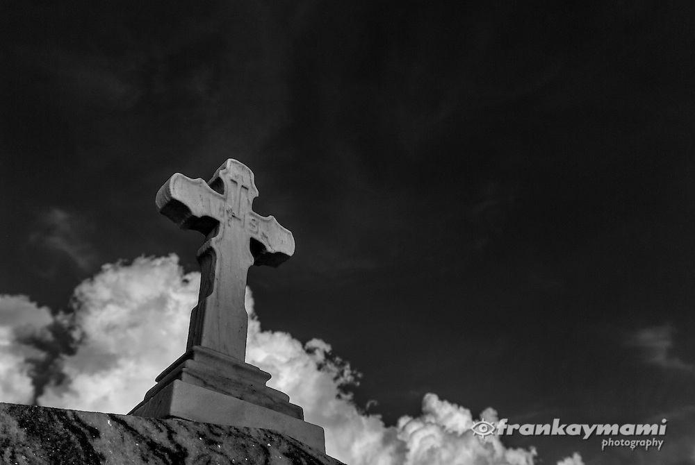 Infrared photography of graves and statues at St. Patrick Cemetery located in New Orleans, LA