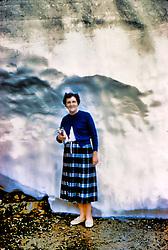 Bernice by snow, Prestwick Ireland, Date unknown - 1960's or 1970's.<br /> <br />  Photos taken by George Look.  Image started as a color slide.