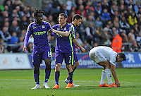CELE - Manchester City's Wilfred Bony celebrates scoring his sides fourth goal <br /> <br /> Photographer Ashley Crowden/CameraSport<br /> <br /> Football - Barclays Premiership - Swansea City v Manchester City - Sunday 17th May 2015 - Liberty Stadium - Swansea<br /> <br /> © CameraSport - 43 Linden Ave. Countesthorpe. Leicester. England. LE8 5PG - Tel: +44 (0) 116 277 4147 - admin@camerasport.com - www.camerasport.com