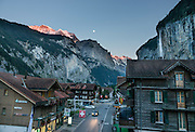 Jungfrau and moon, seen at sunset from Hotel Oberland, Lauterbrunnen, Switzerland, the Alps, Europe.
