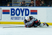 KELOWNA, BC - JANUARY 31: Matthew Wedman #20 of the Kelowna Rockets gets up from the ice after a check by Ty Smith #24 of the Spokane Chiefs at Prospera Place on January 31, 2020 in Kelowna, Canada. Wedman was selected in the 2019 NHL entry draft by the Florida Panthers. (Photo by Marissa Baecker/Shoot the Breeze)