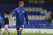 Oliver Banks of Oldham Athletic warms up before the EFL Cup match between Oldham Athletic and Wigan Athletic at Boundary Park, Oldham, England on 9 August 2016. Photo by Simon Brady.
