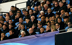 Manchester City manager Pep Guardiola (centre right), chairman Khaldoon Al Mubarak (bottom left) and CEO Ferran Soriano (second bottom left) in the stands during the UEFA Champions League, Quarter Final at the Etihad Stadium, Manchester.