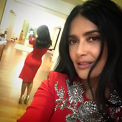 """Salma Hayek releases a photo on Instagram with the following caption: """"#mirrorselfie  #selfie  en el espejo\ud83e\udd33"""". Photo Credit: Instagram *** No USA Distribution *** For Editorial Use Only *** Not to be Published in Books or Photo Books ***  Please note: Fees charged by the agency are for the agency's services only, and do not, nor are they intended to, convey to the user any ownership of Copyright or License in the material. The agency does not claim any ownership including but not limited to Copyright or License in the attached material. By publishing this material you expressly agree to indemnify and to hold the agency and its directors, shareholders and employees harmless from any loss, claims, damages, demands, expenses (including legal fees), or any causes of action or allegation against the agency arising out of or connected in any way with publication of the material."""