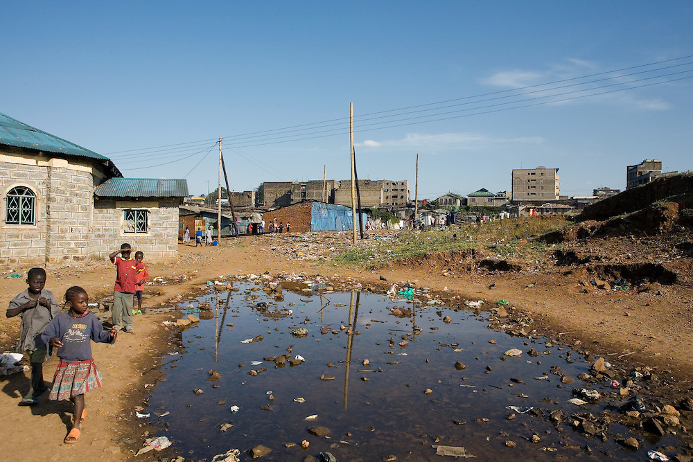 Children return home after school, Mathare slum only a couple of kilometres from the centre of Nairobi.