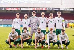 NEWPORT, WALES - Tuesday, November 19, 2019: Wales' players line up for a team group photograph before the UEFA Under-19 Championship Qualifying Group 5 match between Kosovo and Wales at Rodney Parade. Back row L-R: Sam Bowen, Scott Smith, goalkeeper Lewis Webb, Ryan Astley, Cameron Evans, captain captain Morgan Boyes. Front row L-R: Daniel Griffiths, Neco Williams, Joseph Adams, Samuel Pearson, Harry Pinchard. (Pic by Paul Greenwood/Propaganda)