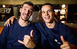 Goran Dragic of Slovenia and Klemen Prepelic of Slovenia at Fans' reception of Team Slovenia after the basketball match between National Teams of Slovenia and Greece at Day 4 of the FIBA EuroBasket 2017  in Teerenpeli bar, Helsinki, Finland on September 3, 2017. Photo by Vid Ponikvar / Sportida