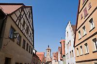 Colorful building along Klingengasse, Rothenburg ob der Tauber, Franconia, Bavaria, Germany