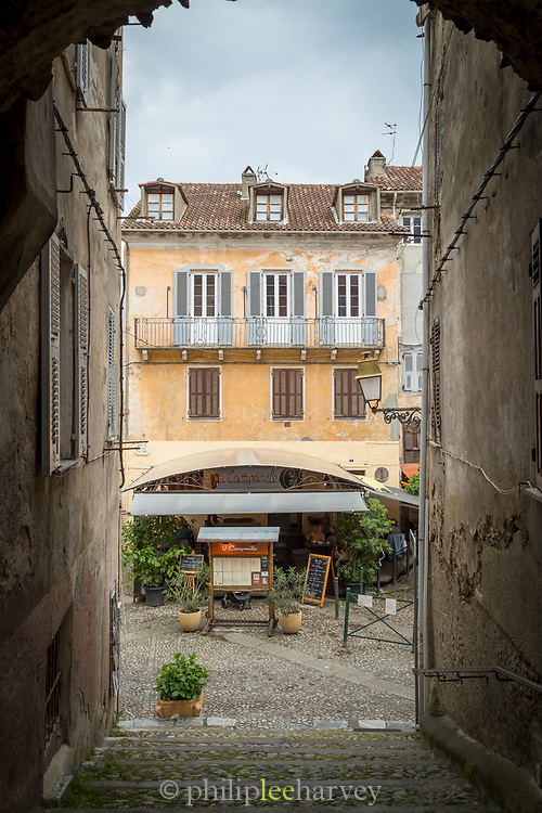 Old town, steps on city street with Restaurant U Campanile, Corte, Corsica, France