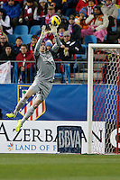 13.01.2013 SPAIN -  La Liga 12/13 Matchday 19th  match played between Atletico de Madrid vs Real Zaragoza (2-0) at Vicente Calderon stadium. The picture show  Thibaut Courtois (Belgian goalkeeper of At. Madrid)
